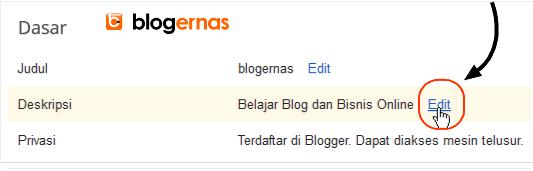 Cara Mengganti Deskripsi yg sudah Blog Terlanjur