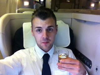 Champagne in business class to Vancouver.