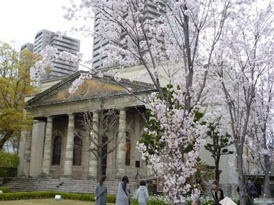 旧桜宮公会堂と染井吉野