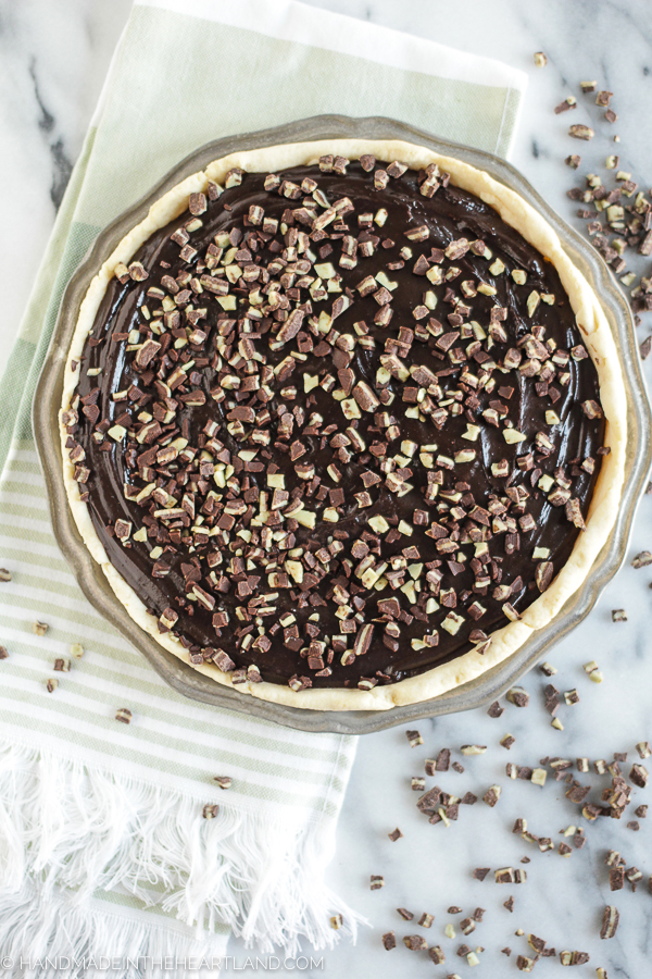 Chocolate Mint Pie for holiday dessert!