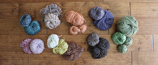 Coordinating Skeins of Wool Blend Yarn