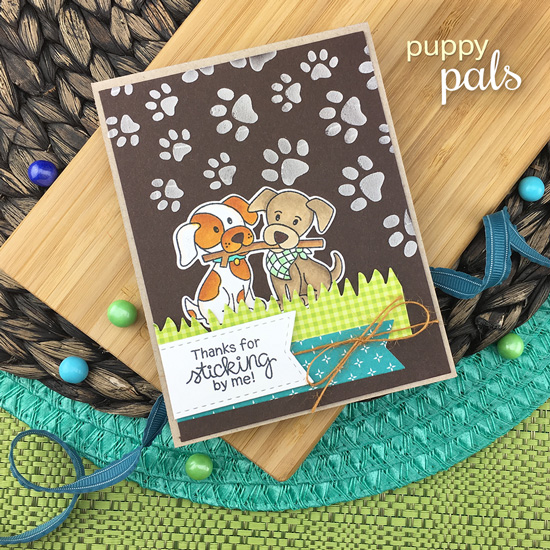 Puppy and Stick Card by Jennifer Jackson | Puppy Pals Stamp Sets by Newton's Nook Designs #newtonsnook #handmade