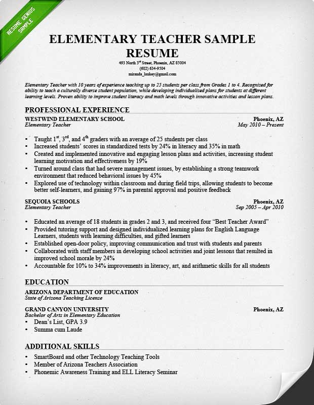 Sample Education Resumes Sample Resumes