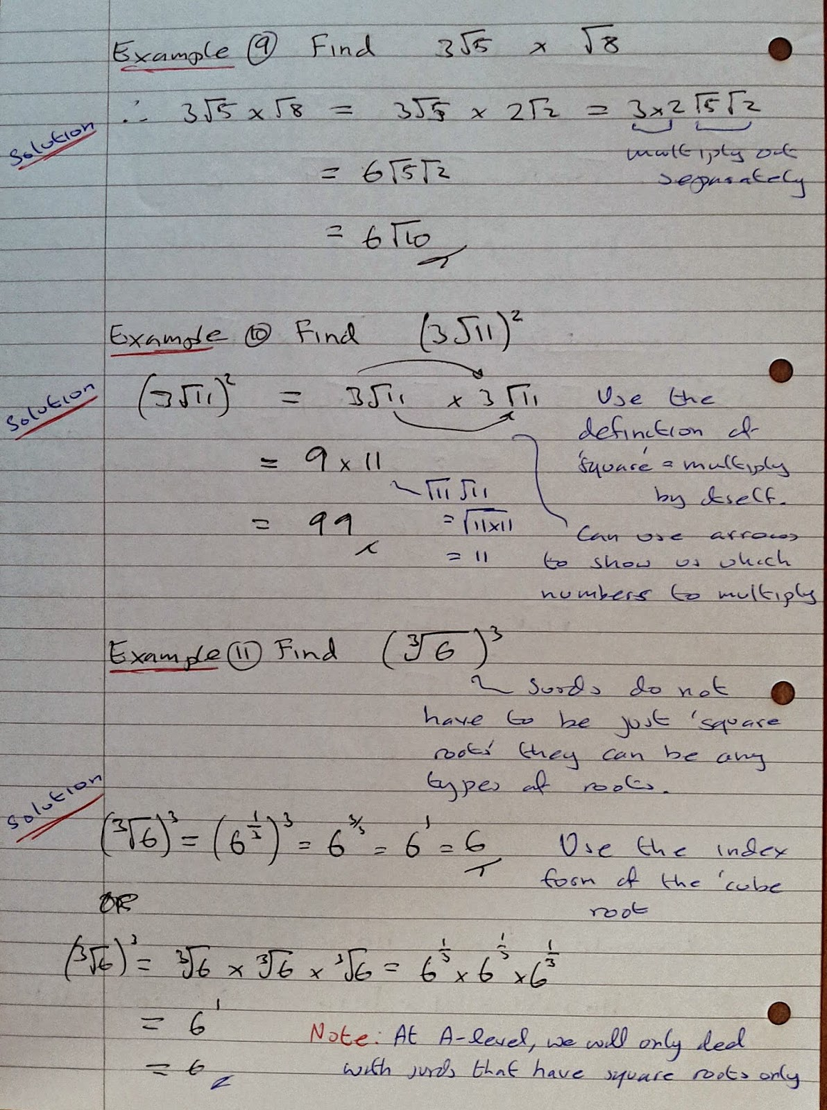 A Level Maths Notes As Surds Multiplication Of Real Numbers Part 1