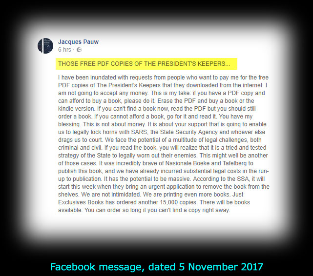 Facebook message by Jacques Pauw, dated 5 November 2017
