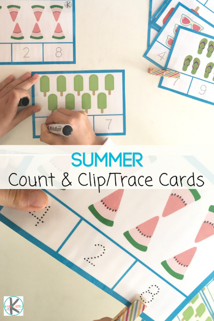 FREE Summer Count, Trace & Clip Cards - this is such a fun way for preschool and kindergarten age kids to practice counting to 10 with a fun summer learning twist. Plus practice writing numbers by tracing them. #counting #kindergarten #preschool