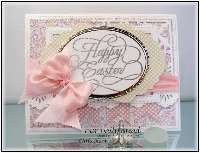 Our Daily Bread Designs, Flourished Happy Easter, Ovals, Stitched Ovals, Pennants, Beautiful Borders, Rectangles, Double Stitched Rectangles, Vintage Labels, Flourished Star Pattern, Decorative Corners Easter Card Collection and Pastel Paper Pack, designed by Chris Olsen