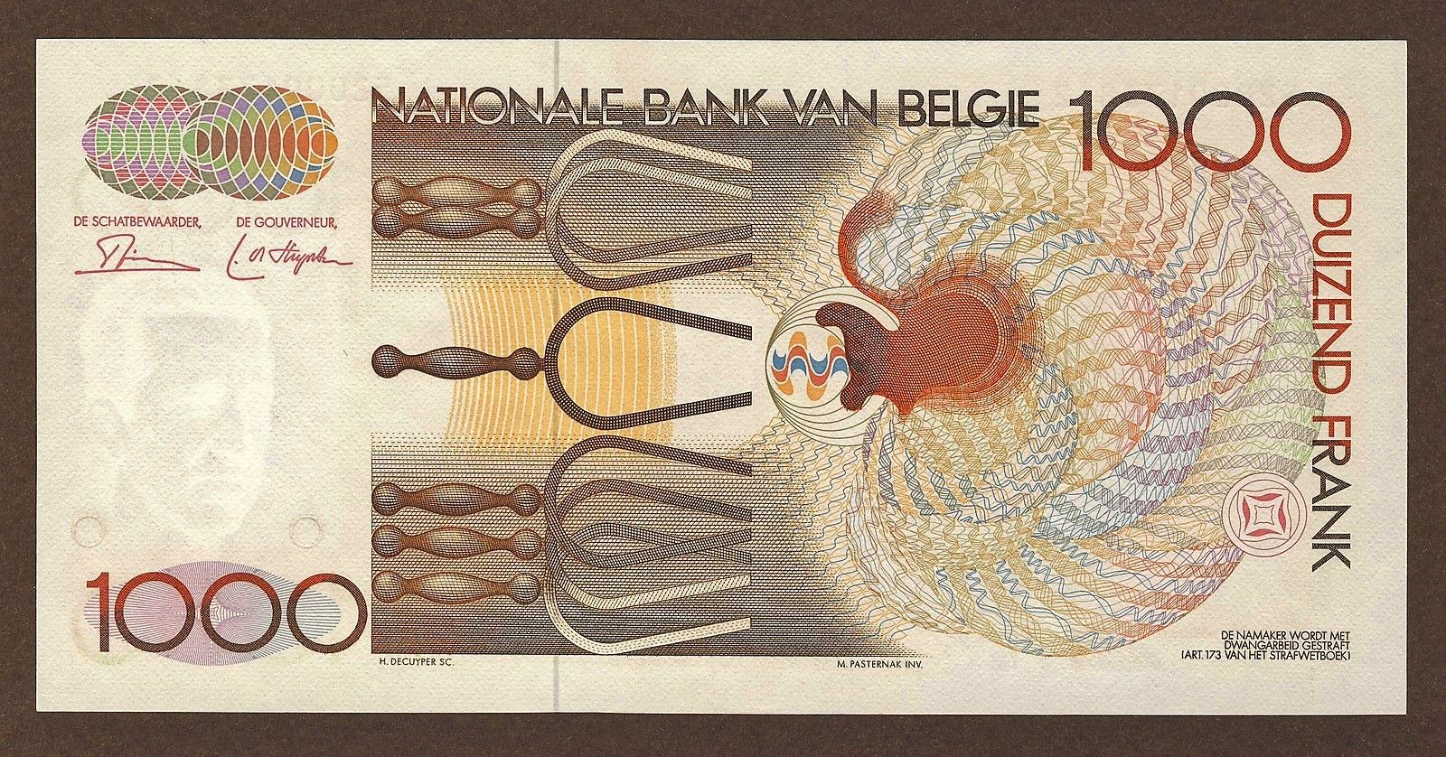 Belgium Money Currency 1000 Francs banknote 1980