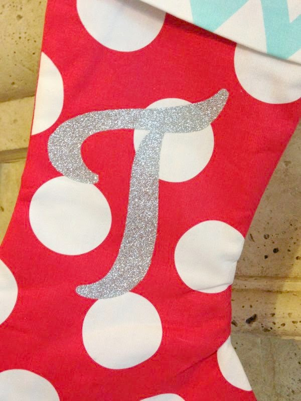 Cricut Monogrammed 't' stocking close up