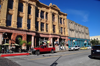 historic stone buildings on the Strand in Galveston