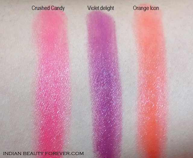 Maybelline Color show lipsticks Crushed Candy, Violet Delight and Orange icon swatches