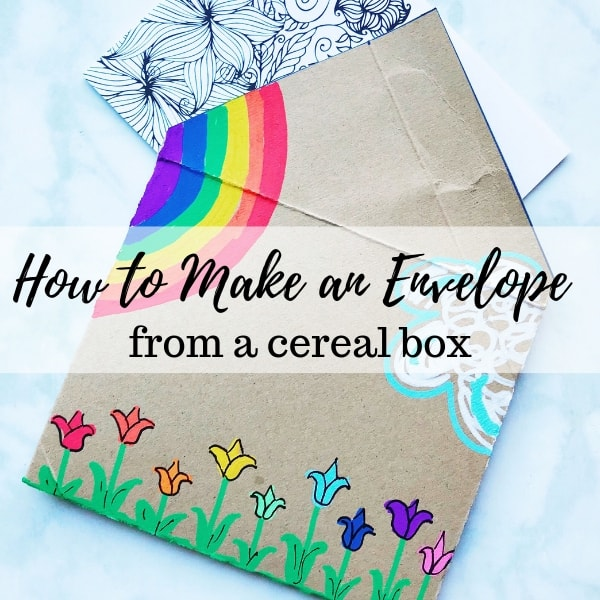 How to make an envelope for a card from a recycled cereal box - learn how to fold an envelope to make a DIY envelope for a card