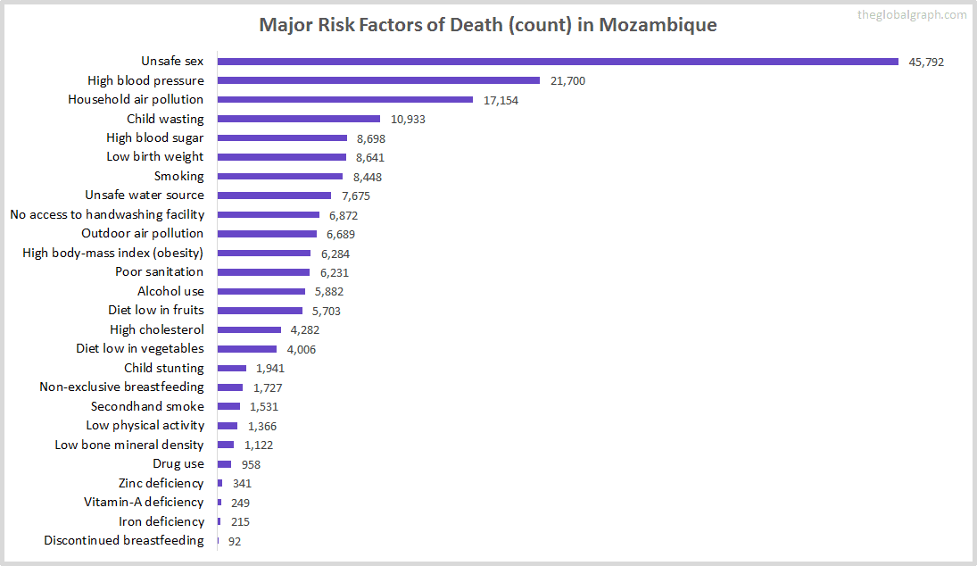 Major Cause of Deaths in Mozambique (and it's count)