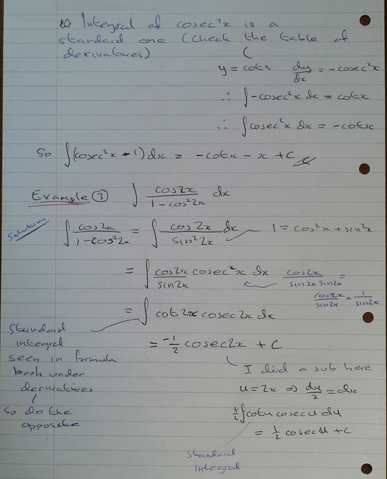 A Level Maths Notes A2 Integration Ii Trigonometric Functions Using Identities Part 6