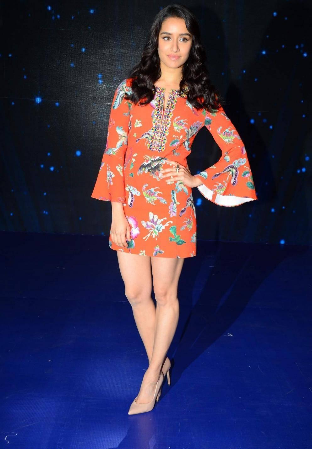 Actress Long Legs In Orange Dress Shraddha Kapoor