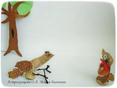 """пальчиковый театр Бианки """"Первая охота"""" вертишейка, щенок, фетр, пальчиковые игрушки"""