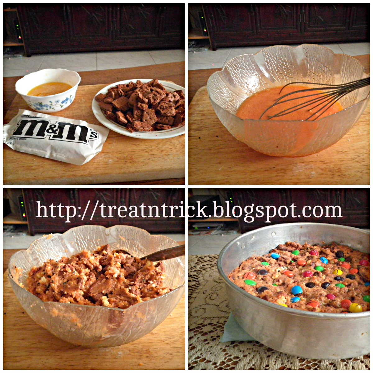 M&M Cookies Slices Recipe @ http://treatntrick.blogspot.com