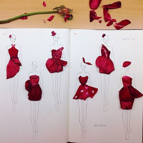 Creative Fashion Design Sketches Using Real Flower Petals ...