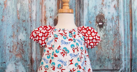 GypsySpoonful Thing 1 & Thing 2 Dr. Seuss Peasant Dress by That's So Addie. Ready to ship size 2T/3T