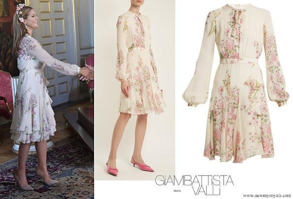 Princess Madeleine wore Giambattista Valli Garden Butterfly print silk georgette dress