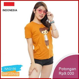 NAG156 Kaos Wanita Oneck Sablon 012 Cotton Combed Murah Bmgshop