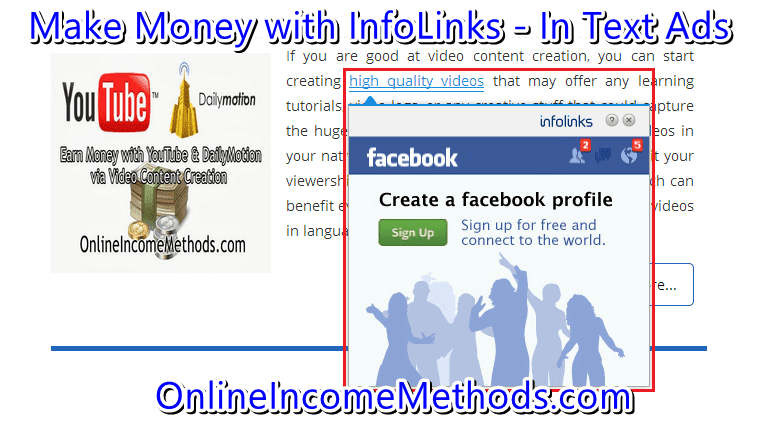 Earn Money with InfoLinks In Text Ads