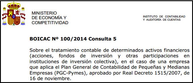 BOICAC 100 consulta 5 contabilidad activos financieros PYMES