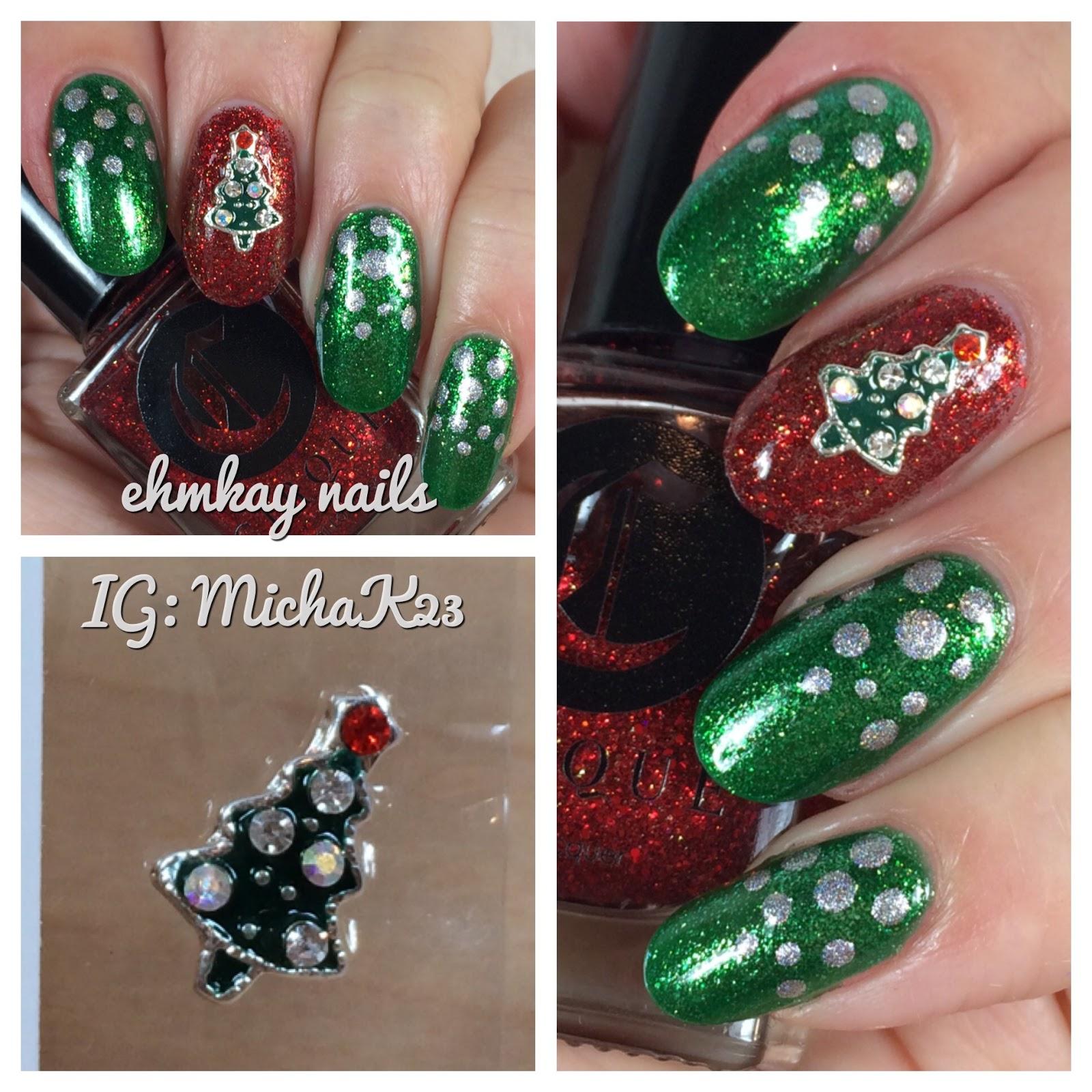 ehmkay nails: Christmas Tree Nail Jewelry and Easy Festive Nail Art