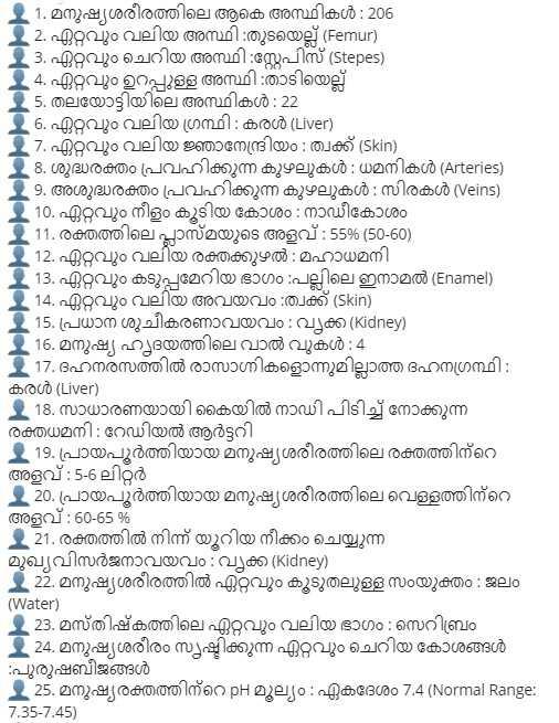 Human Body Based Malayalam GK Questions for Kerala PSC