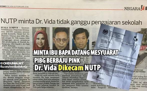Surat Minta Ibu Bapa Hadir Mesyuarat PIBG Berbaju Pink Kerana Kehadiran Dr. Vida