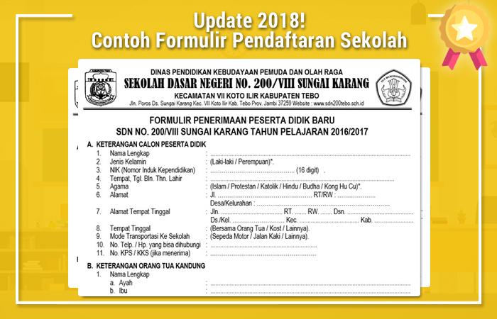 Contoh Formulir Pendaftaran Sekolah