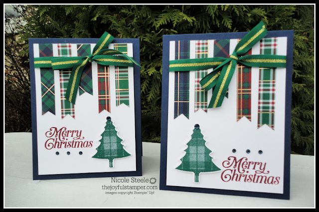 Stampin' Up!' Perfectly Plaid Christmas cards using Wrapped In Plaid DSP scraps