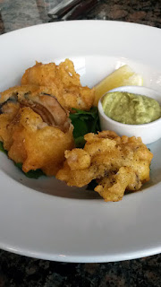 Tempura oysters with wild garlic mayo.
