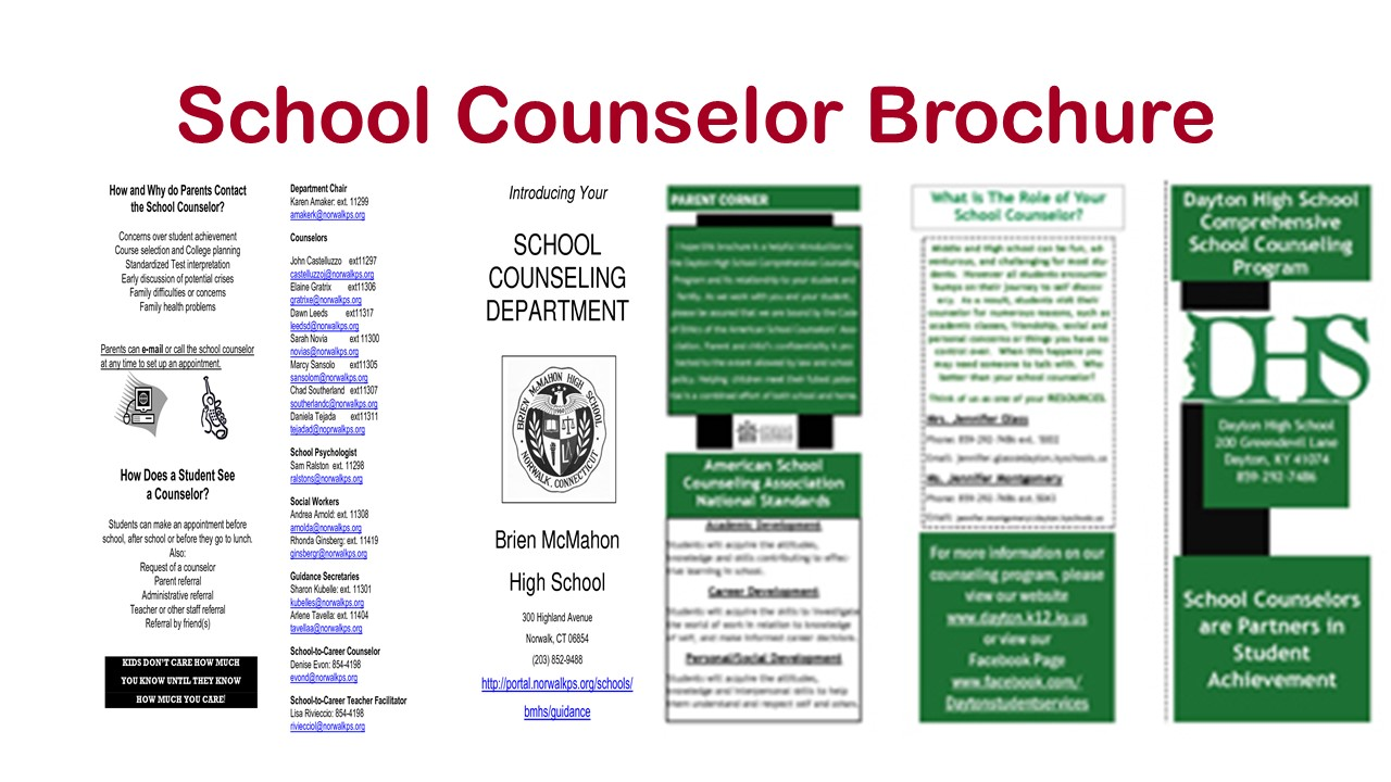 For high school counselors school counselor tips for for Counseling brochure templates free
