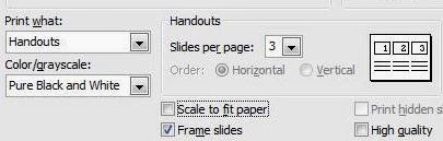 Print Options of PowerPoint 2003