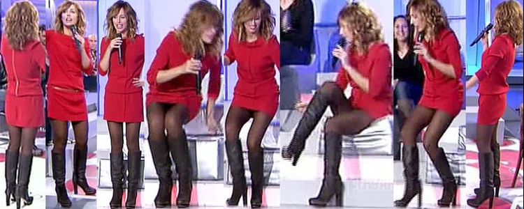 Emma Garcia Video Upskirts Con Minivestido Rojo Con Botas