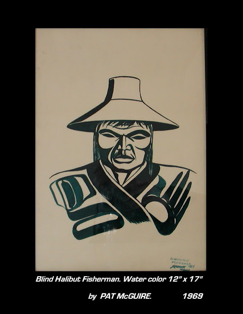 Pat McGuire painting Blind halibut fisherman