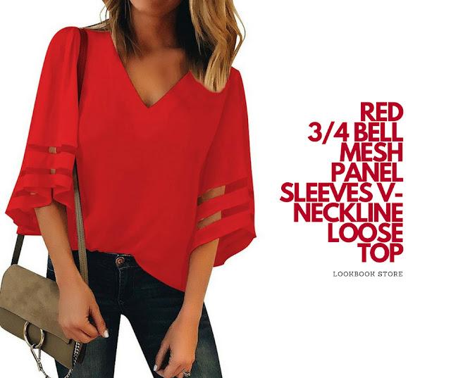 Lookbook Store Red 3/4 Bell Mesh Panel Sleeves V-Neckline Loose Top