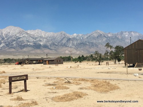 overview of reconstructed buildings at Manzanar National Historic Site in Independence, California
