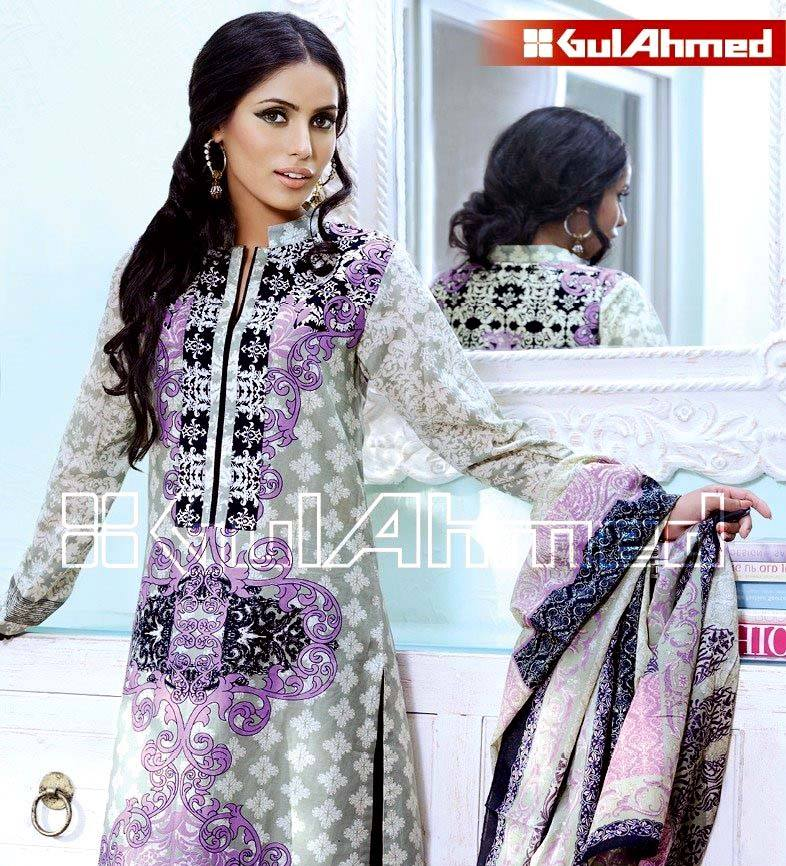 f60e9728ff Gul Ahmed Clothings: Two piece Printed/Embroidered lawn Suits of Gul ...