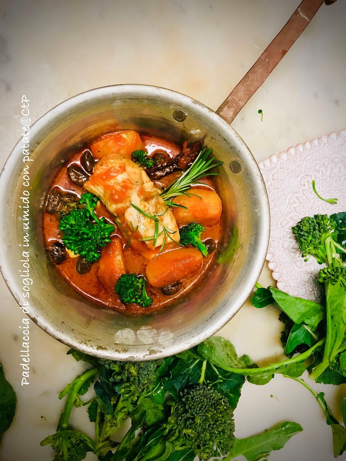 Padellaccia di sogliola in umido con patate, cimette di broccolo e olive taggiasche