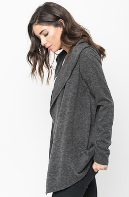 Buy Now Black Hooded Cardigan Online $10 -@caralase.com