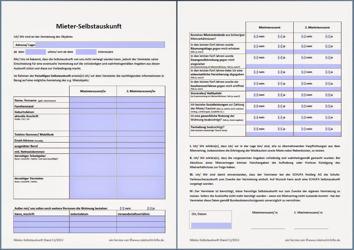 Mietvertrag Schufa Auskunft