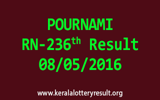 POURNAMI RN 236 Lottery Result 8-5-2016