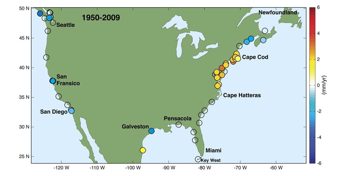 Sea Level Rising 3 To 4 Times Faster On Us Atlantic Coast Climate - Map-of-us-atlantic-coast