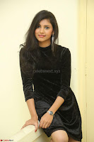 Mounika in a velvet short black dress for Tick Tack Movie Press Meet March 2017 083.JPG