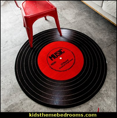 Retro creative album round carpet  Music bedroom decorating ideas - rock star bedrooms - music theme bedrooms - music theme decor - music themed decorations - bedding with musical notes