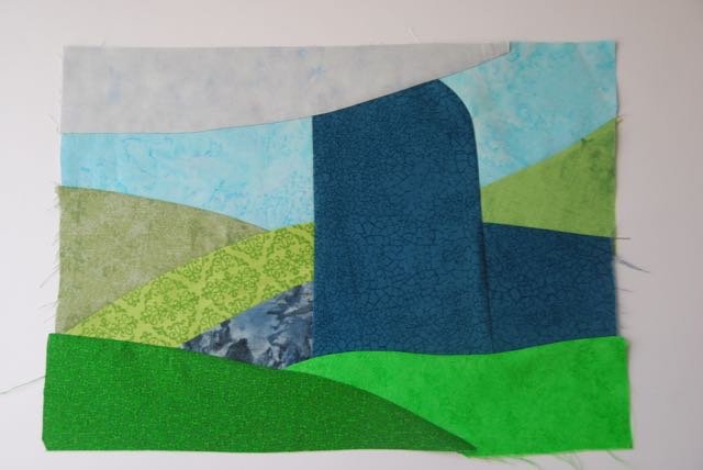 Machine-pieced background - the stage is set for playing with appliqué