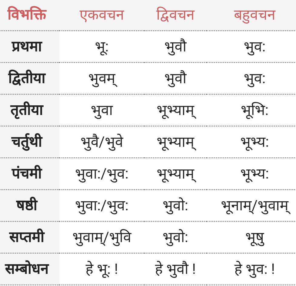 Bhoo, Prathvi Shabd Roop