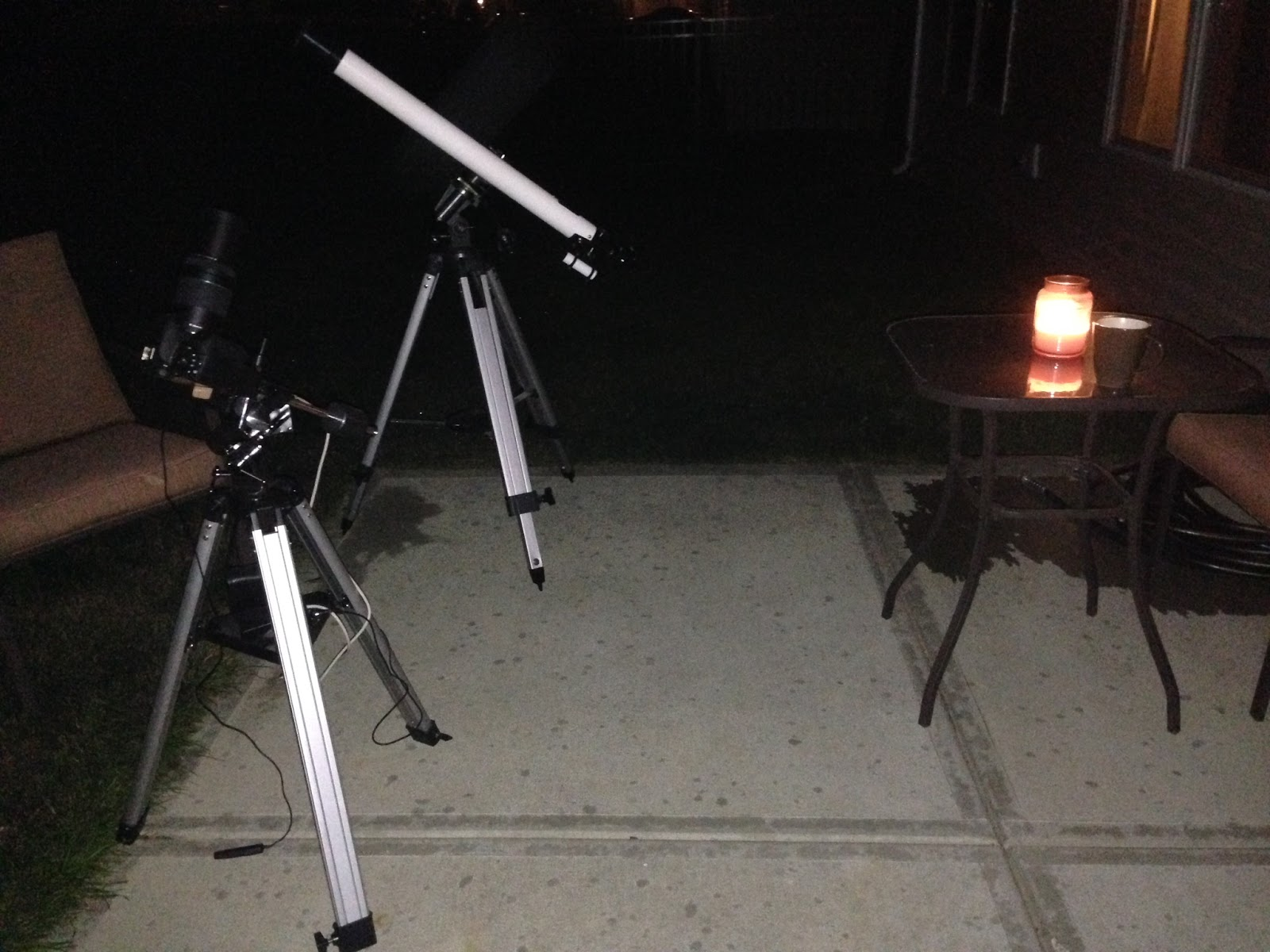 back patio observing with telescope